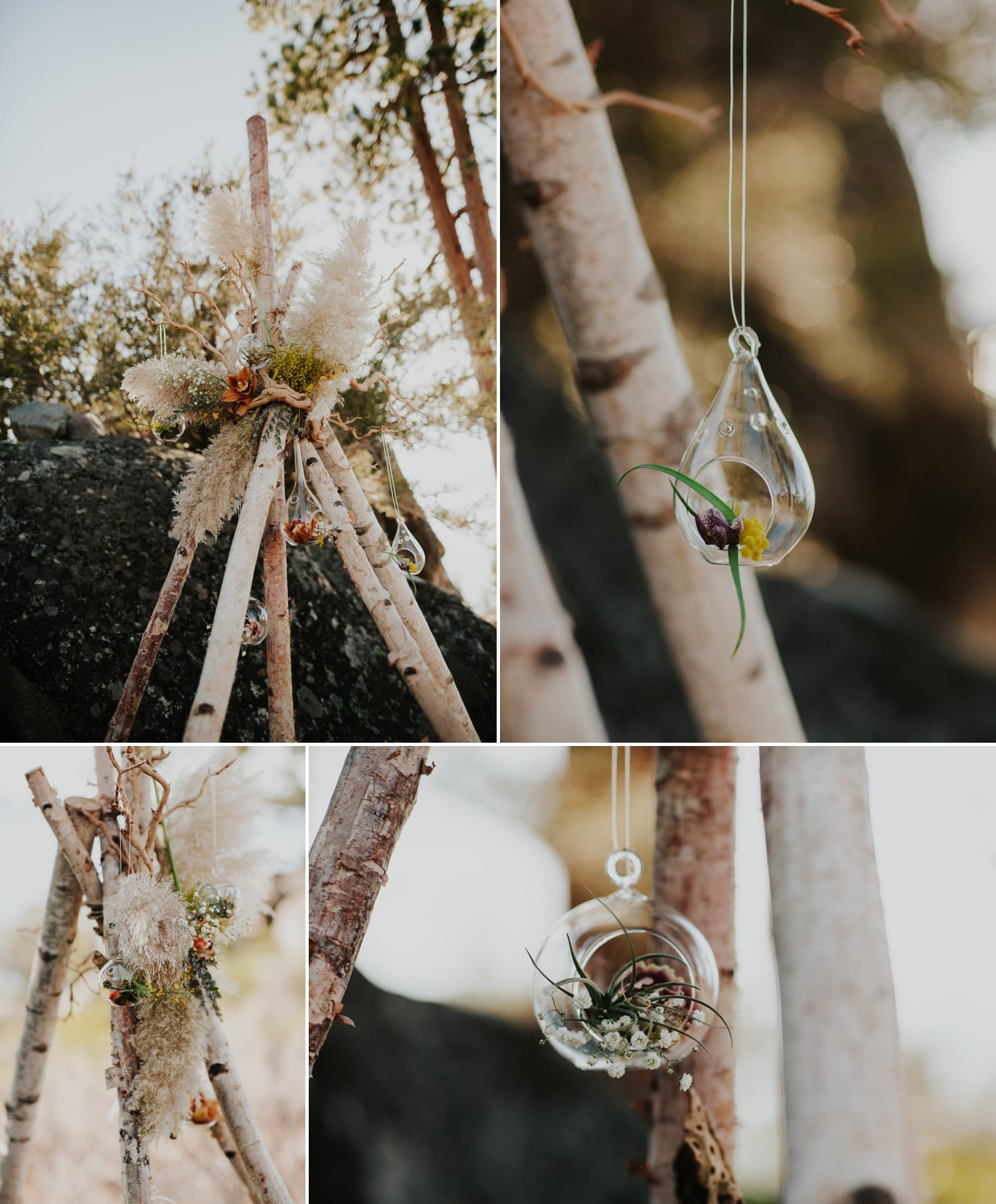 floral teepee with hanging air plants