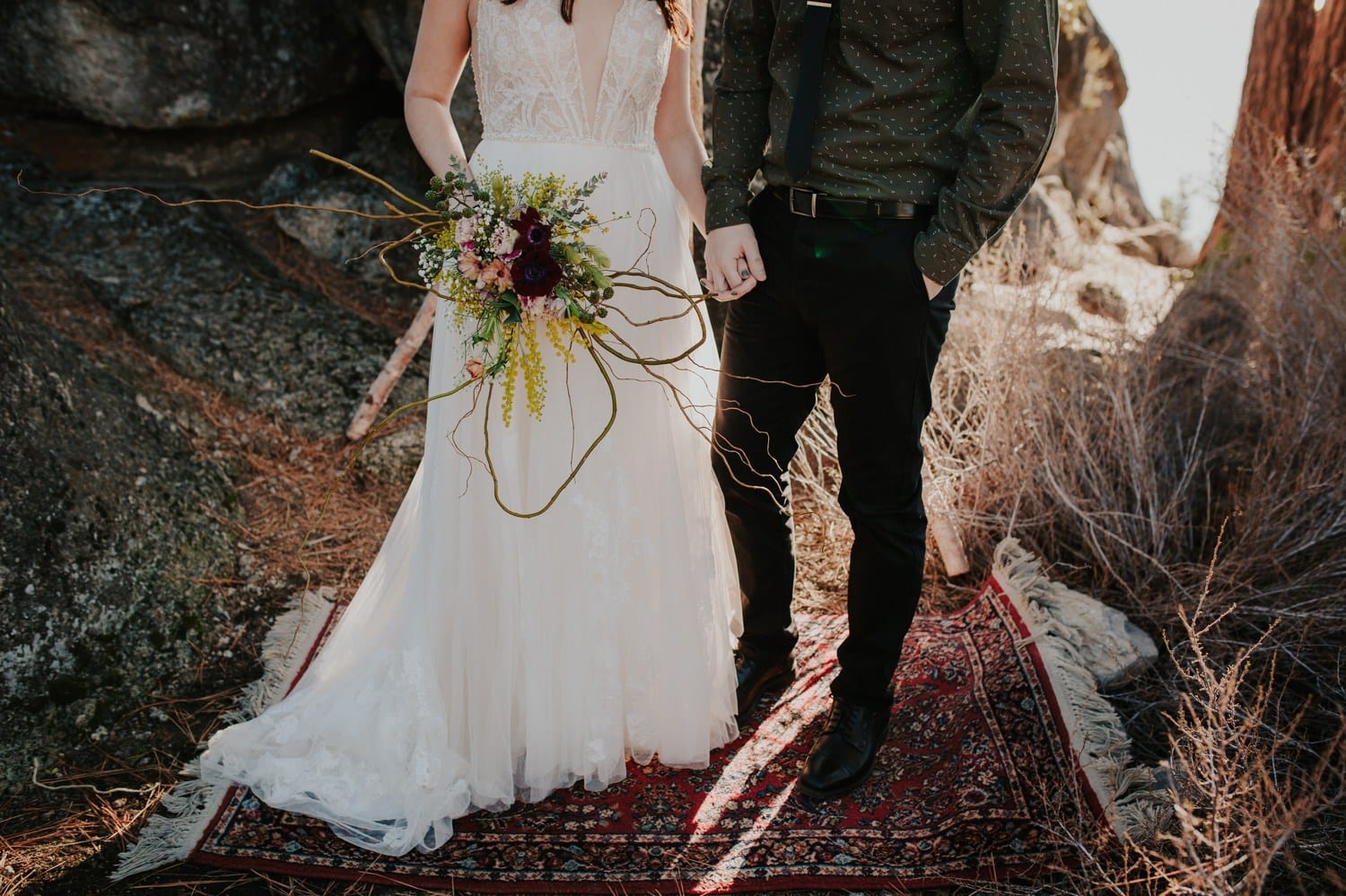 wedding couple holding hands at Lake Tahoe
