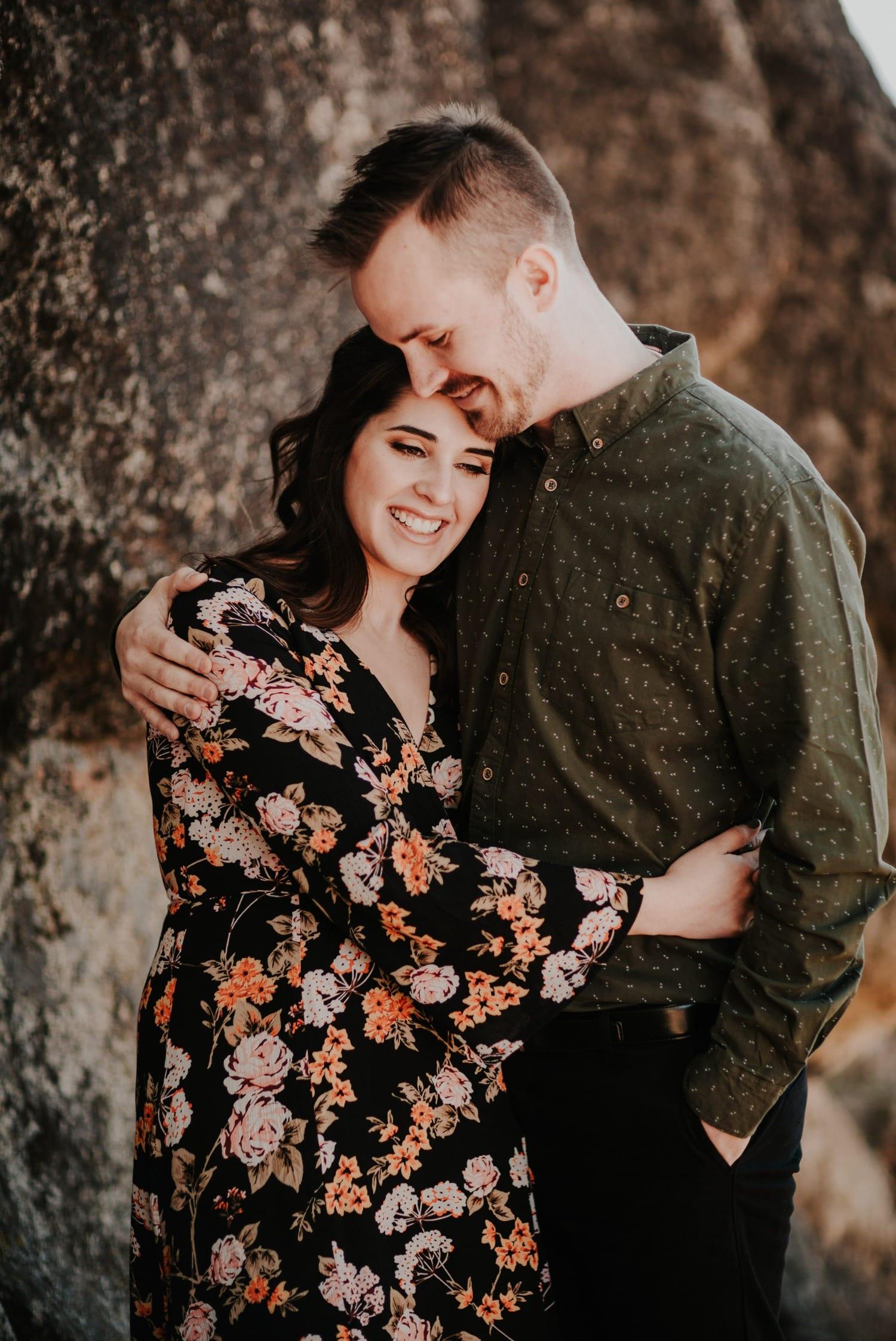 couple in Lake Tahoe hugging