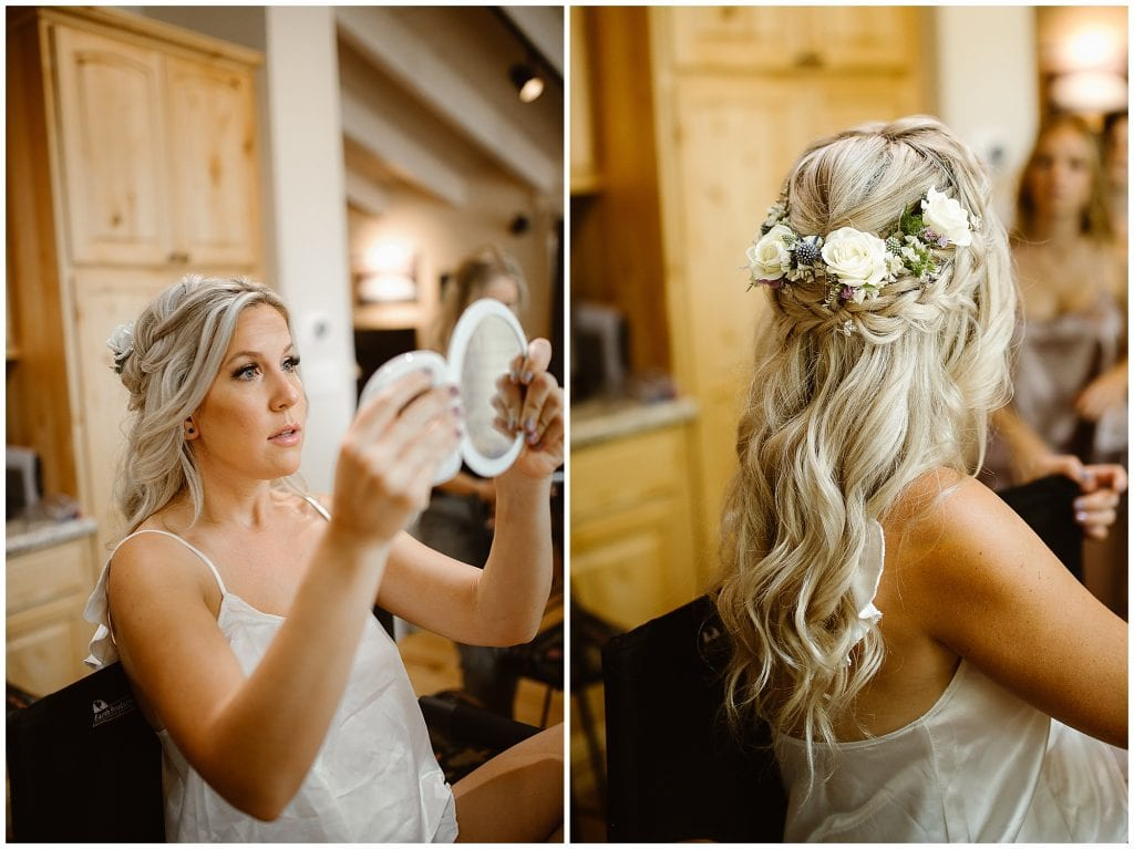 bride and bridesmaids getting ready for wedding in Truckee summer wedding Gray's Crossing