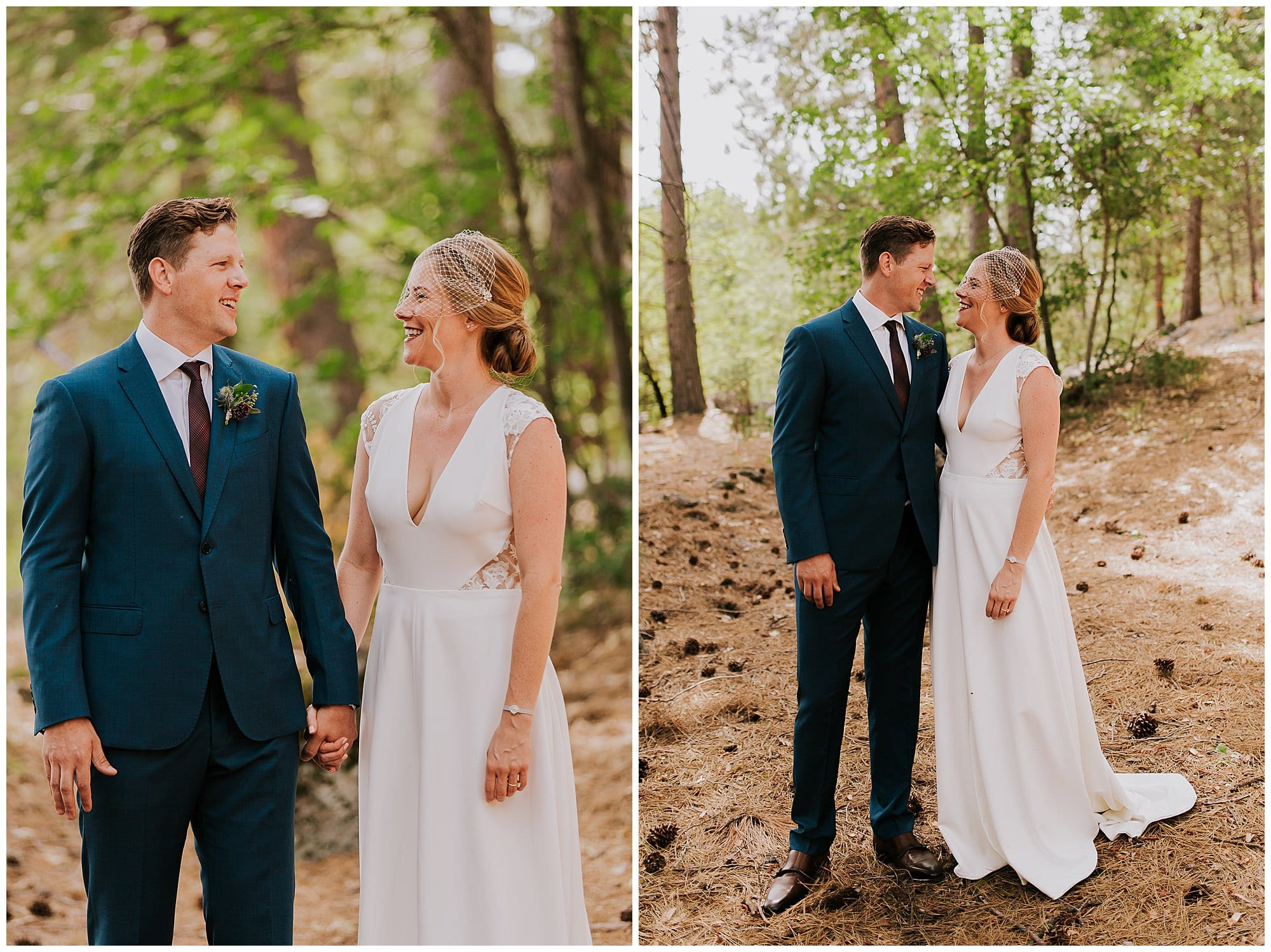 bride and groom first look in Evergreen forest