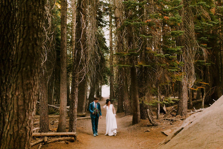 wedding couple at taft point walking