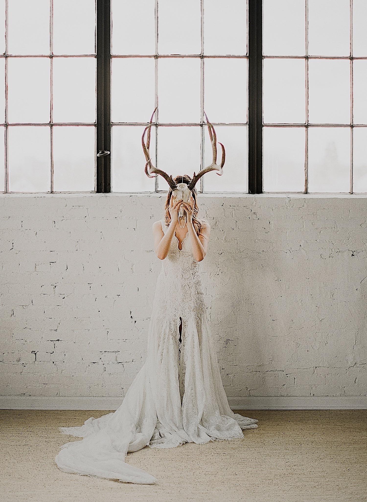 lake tahoe bride on film holding skull