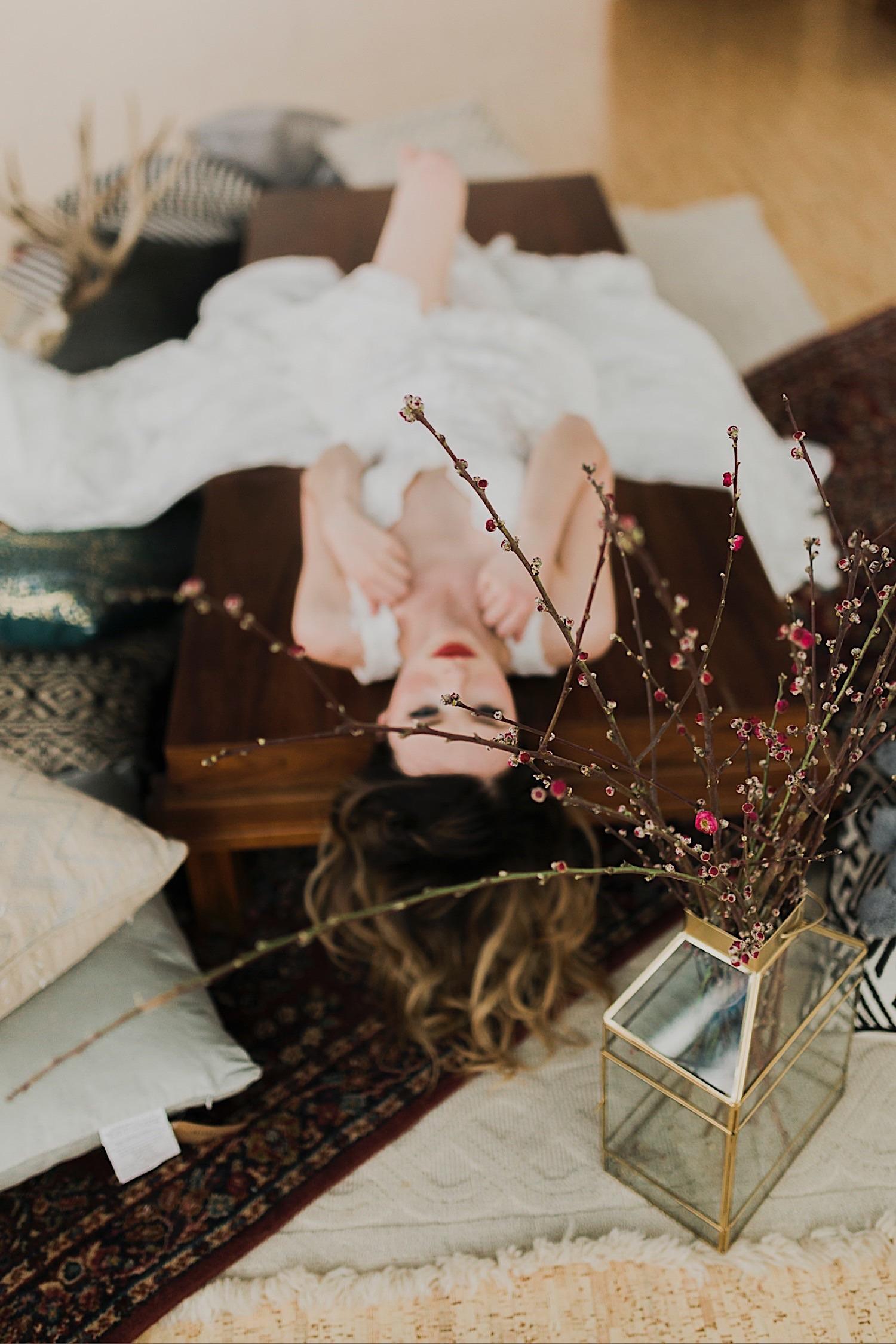 lake tahoe bride on film lying down