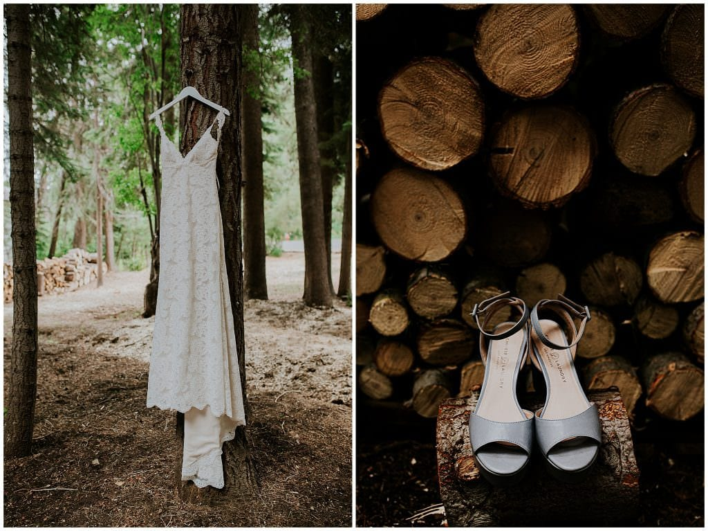 bride's details dress and shoes summer wedding Gray's Crossing