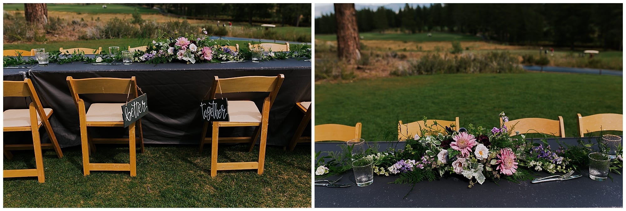 table centerpieces at wedding reception outdoors Truckee California mountain wedding
