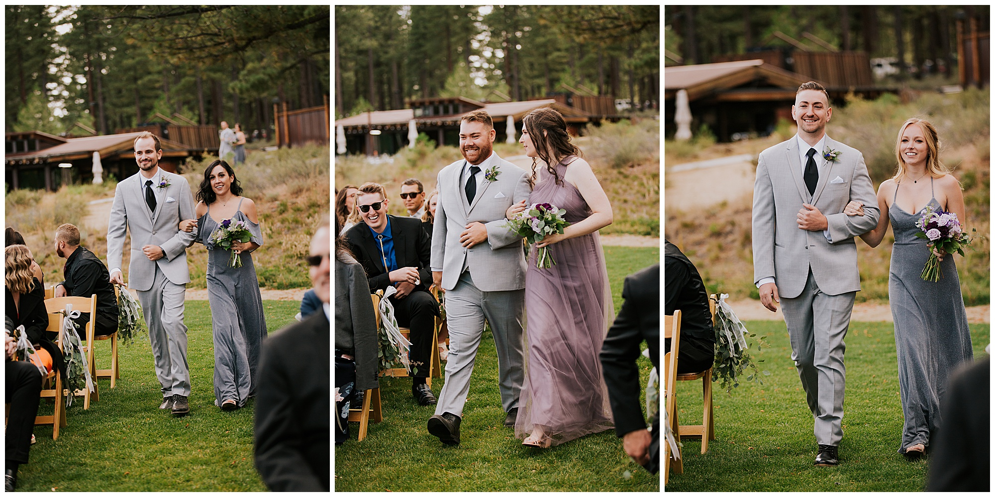 wedding attendants walk down aisle at Truckee California outdoor venue The Crossing