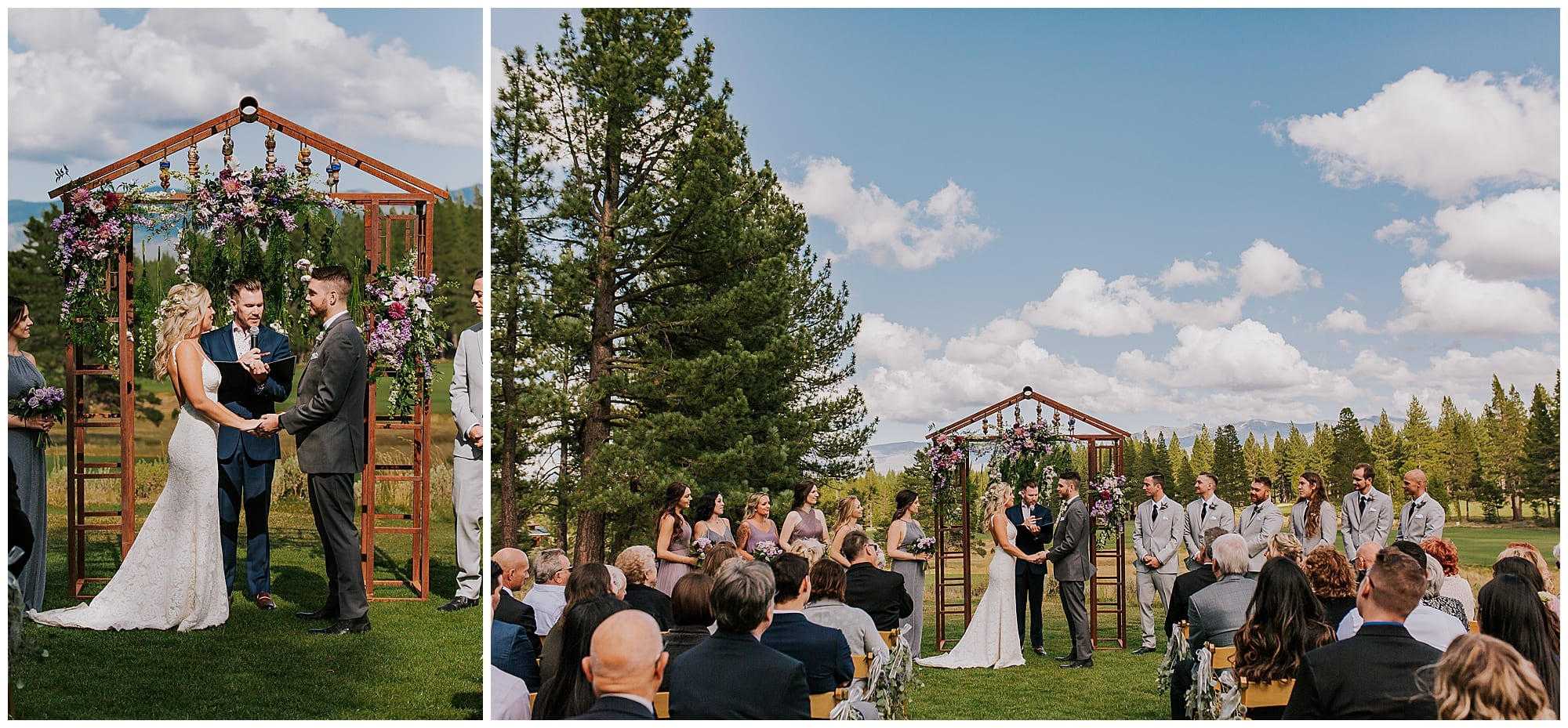 outdoor Truckee California wedding ceremony Gray's Crossing