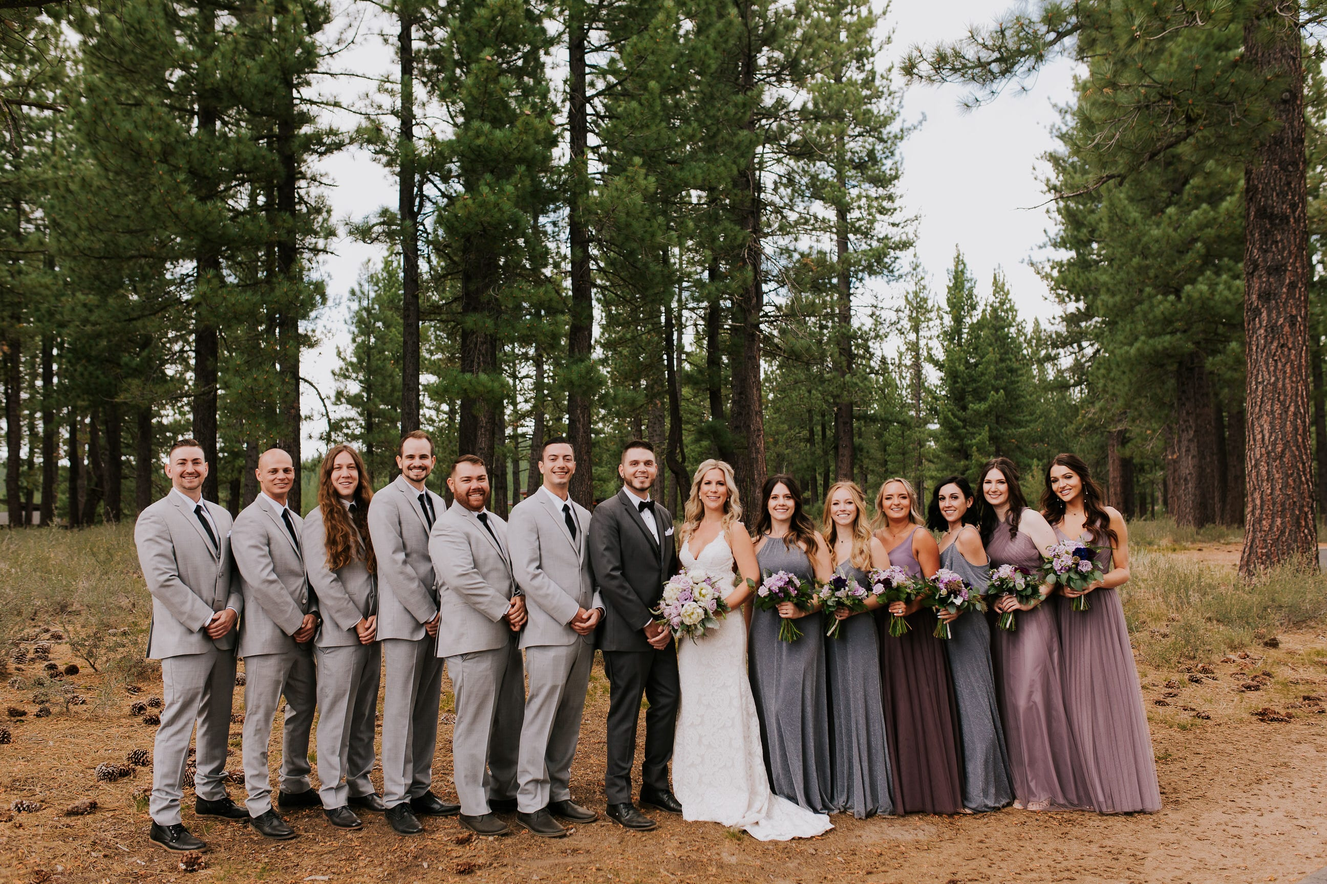 bridal party pictures in outdoor Colorado wedding