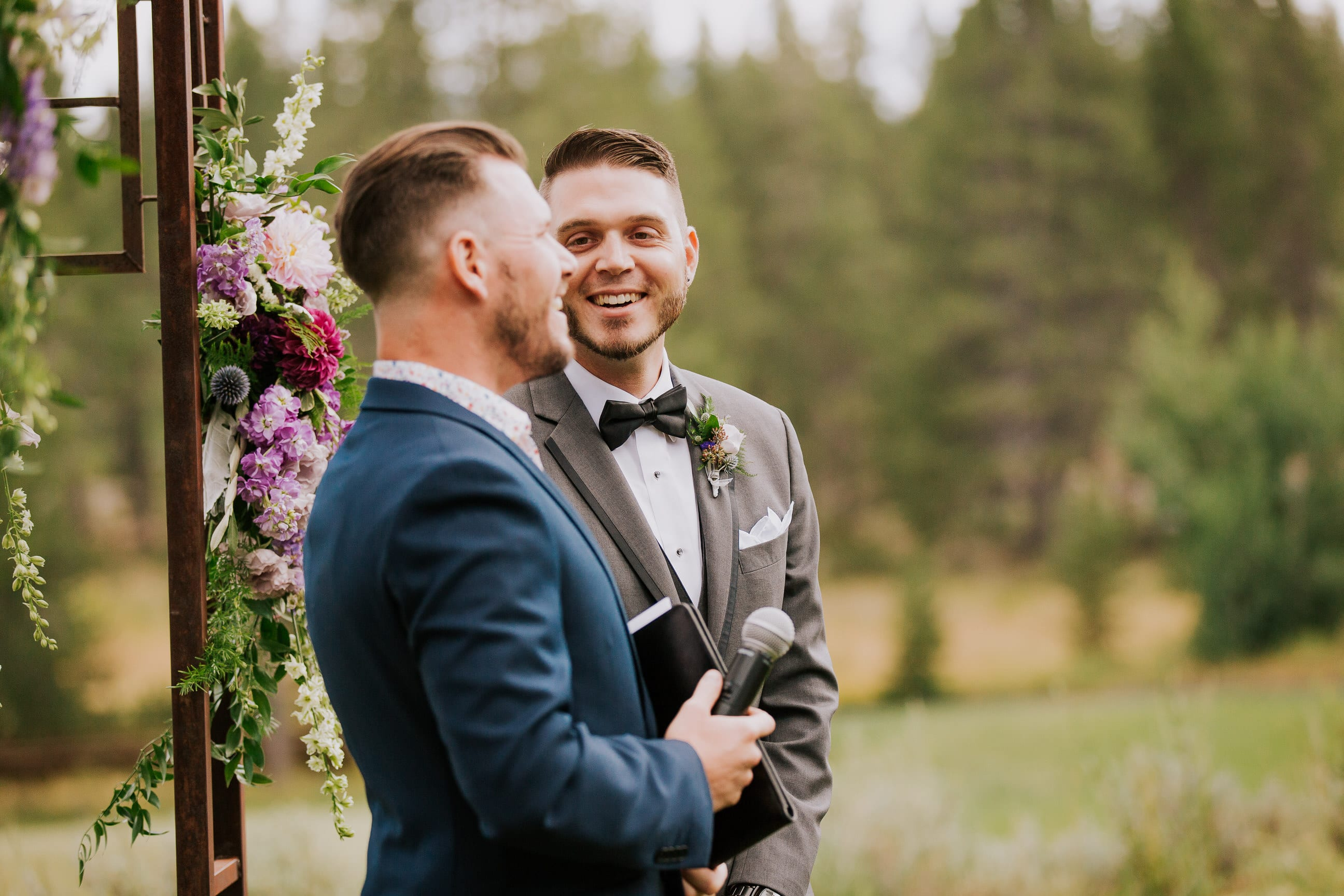 groom and efficient wait for bride to walk down aisle in wedding ceremony