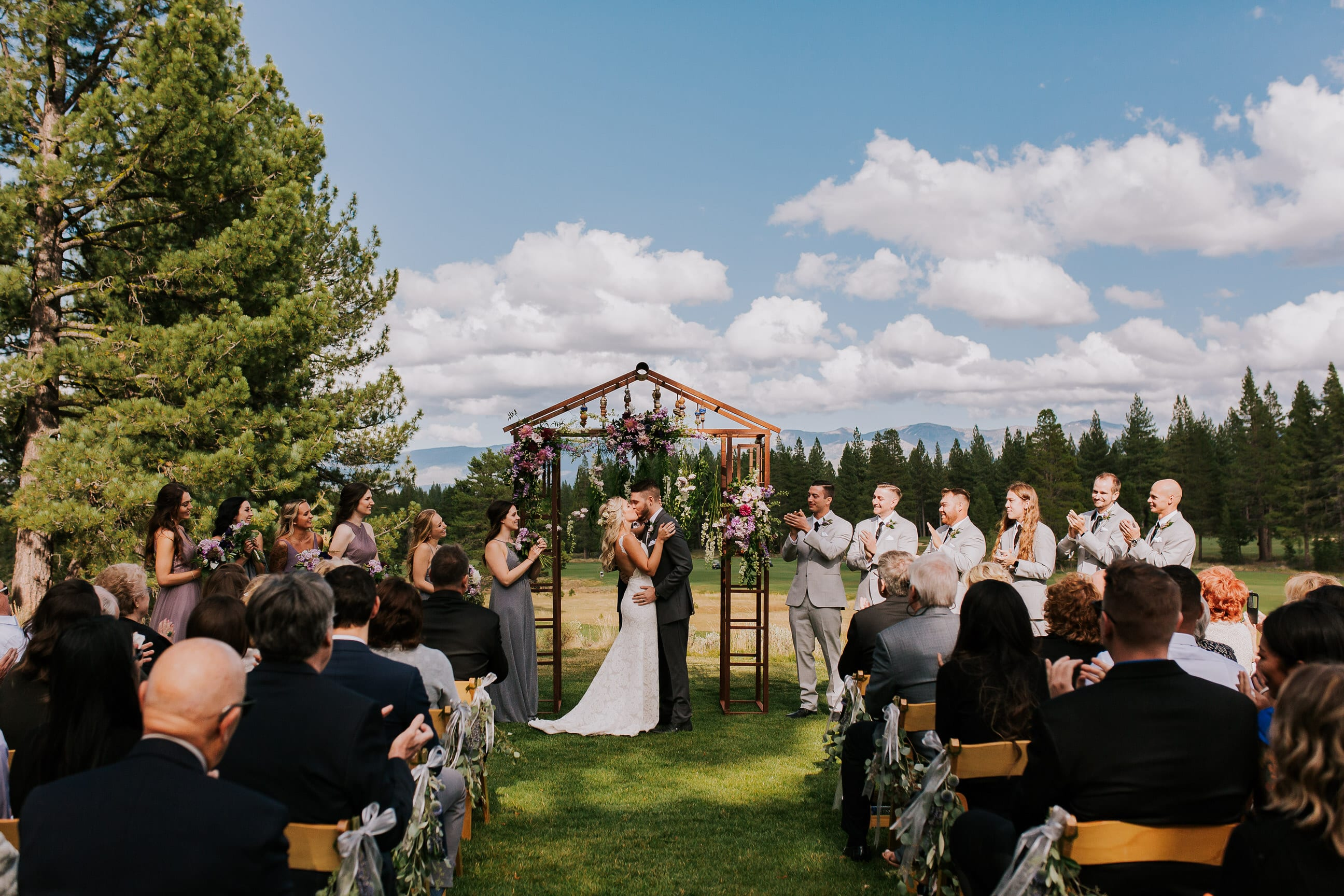 outdoor Truckee California summer wedding ceremony Gray's Crossing