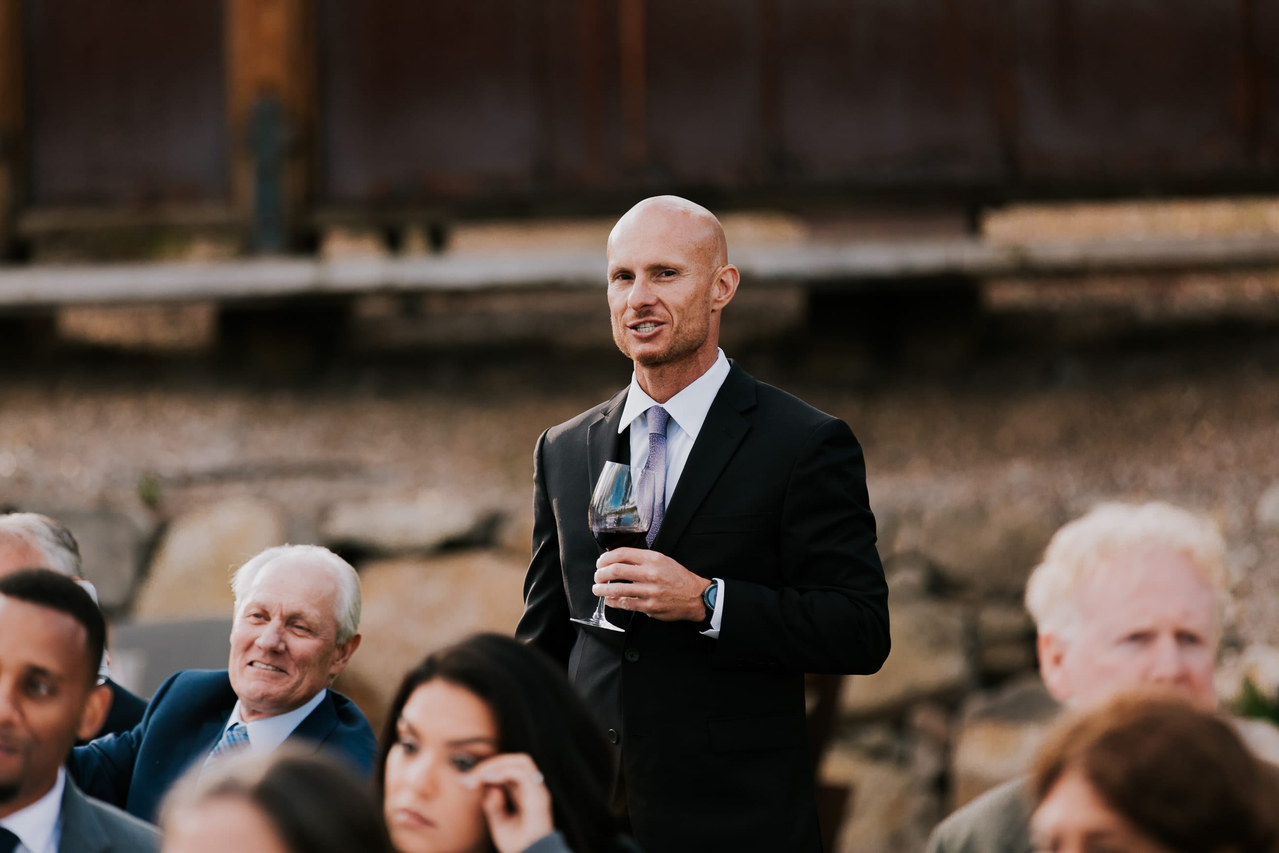 toasts at wedding reception, summer wedding Gray's Crossing Lake Tahoe wedding venue