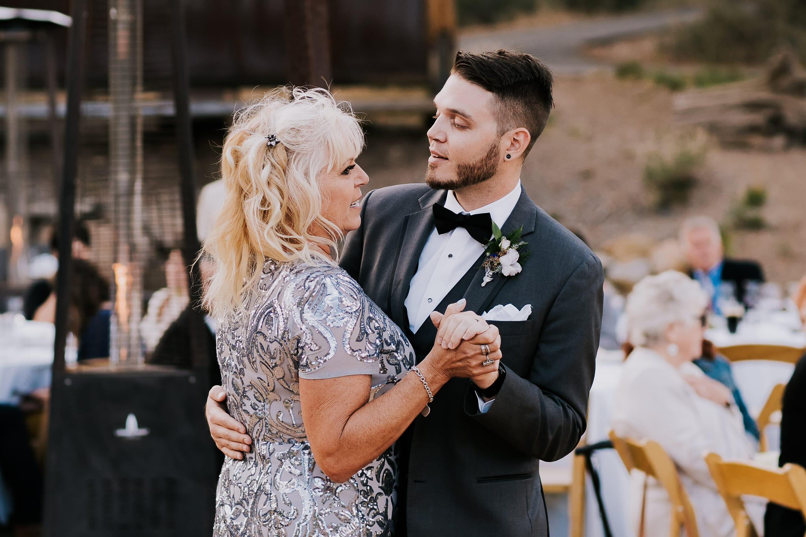 mother son dance at outdoor California wedding reception