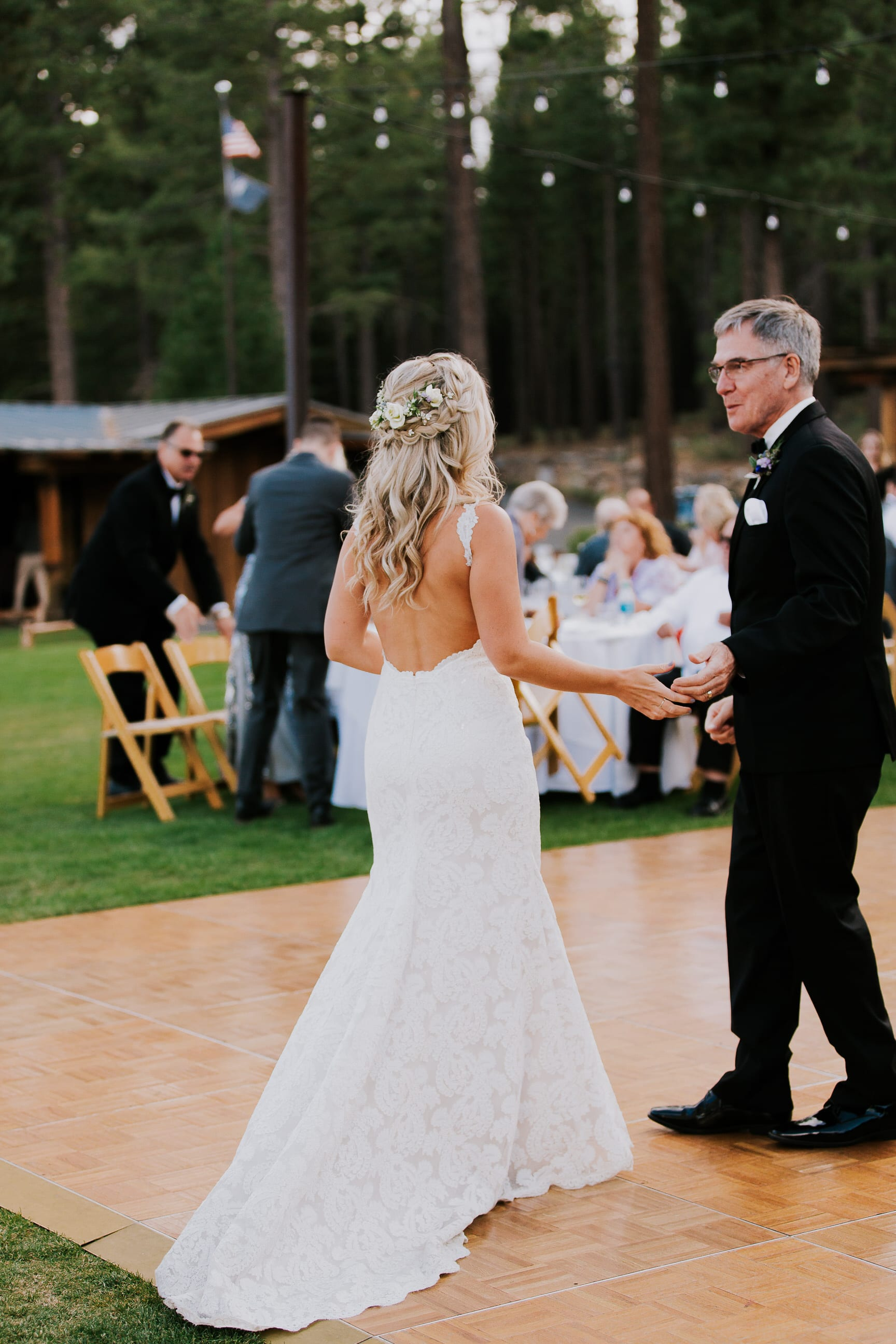 father daughter dance at outdoor wedding reception summer wedding at Gray's Crossing