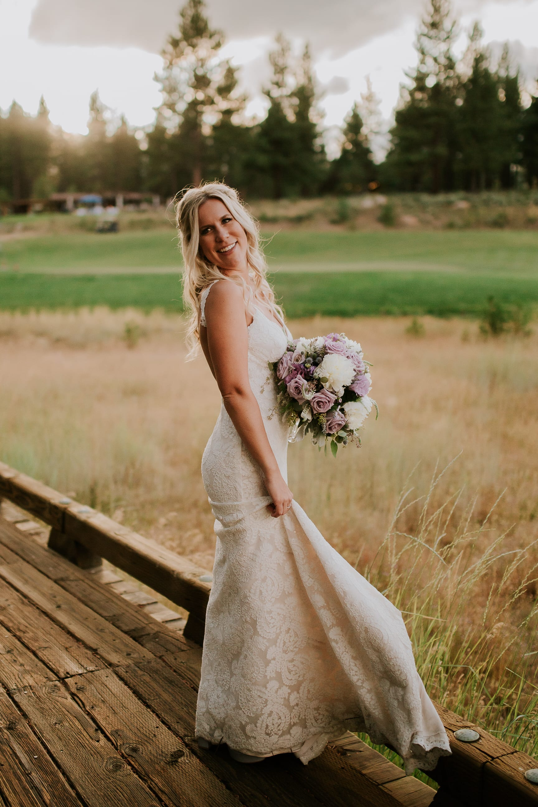 Bride and groom portraits at Gray's Crossing Lake Tahoe California wedding venue