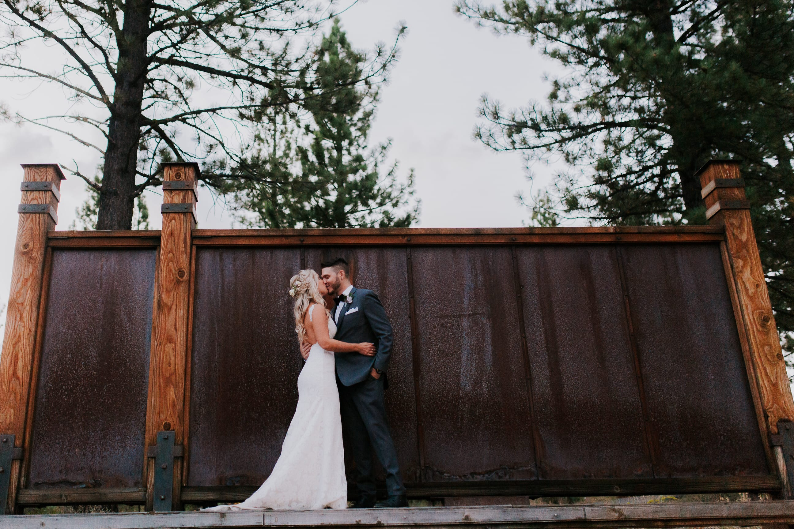 Bride and groom portraits, summer wedding Gray's Crossing Lake Tahoe California wedding venue