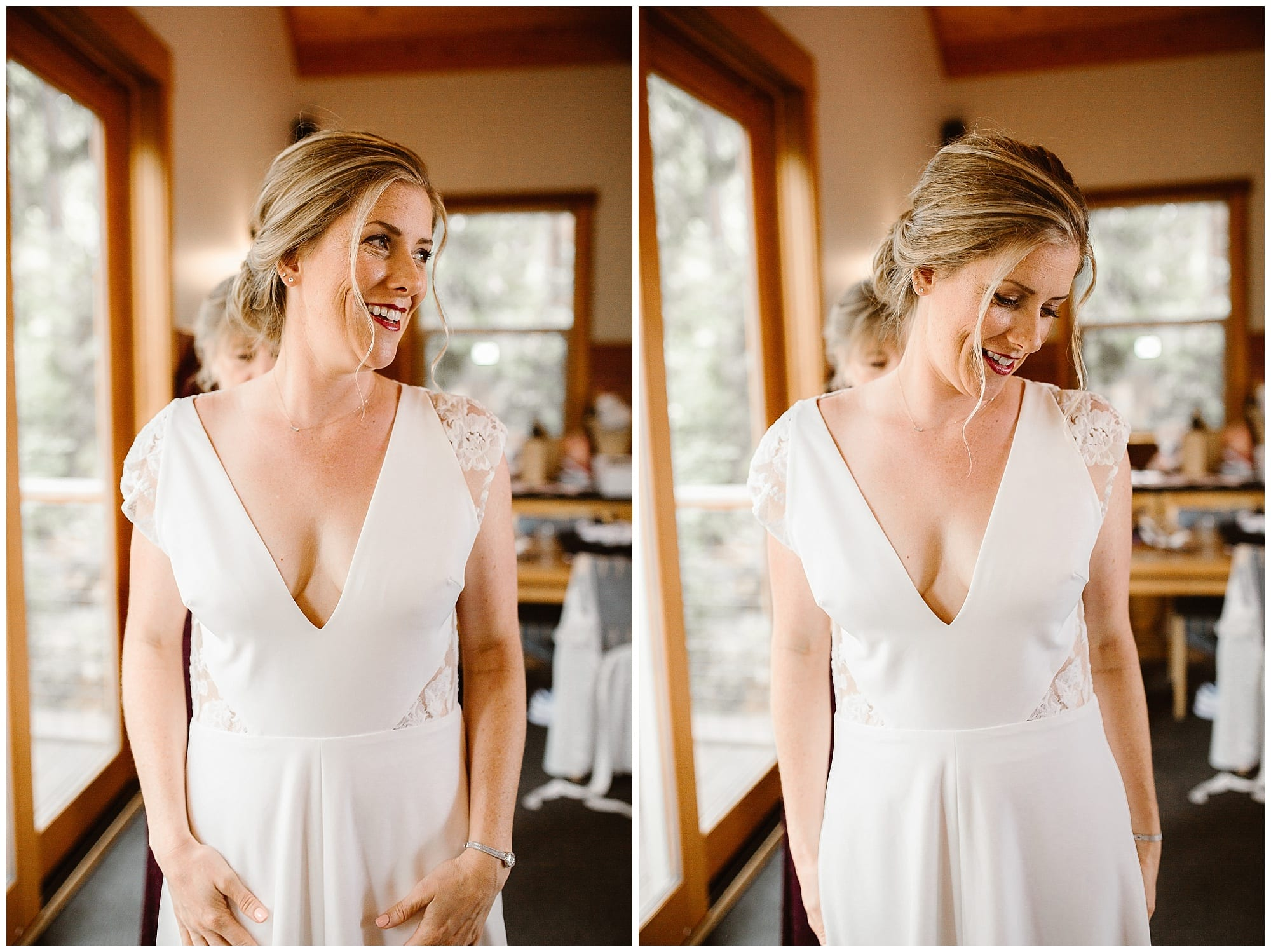 bride getting dressed in wedding dress