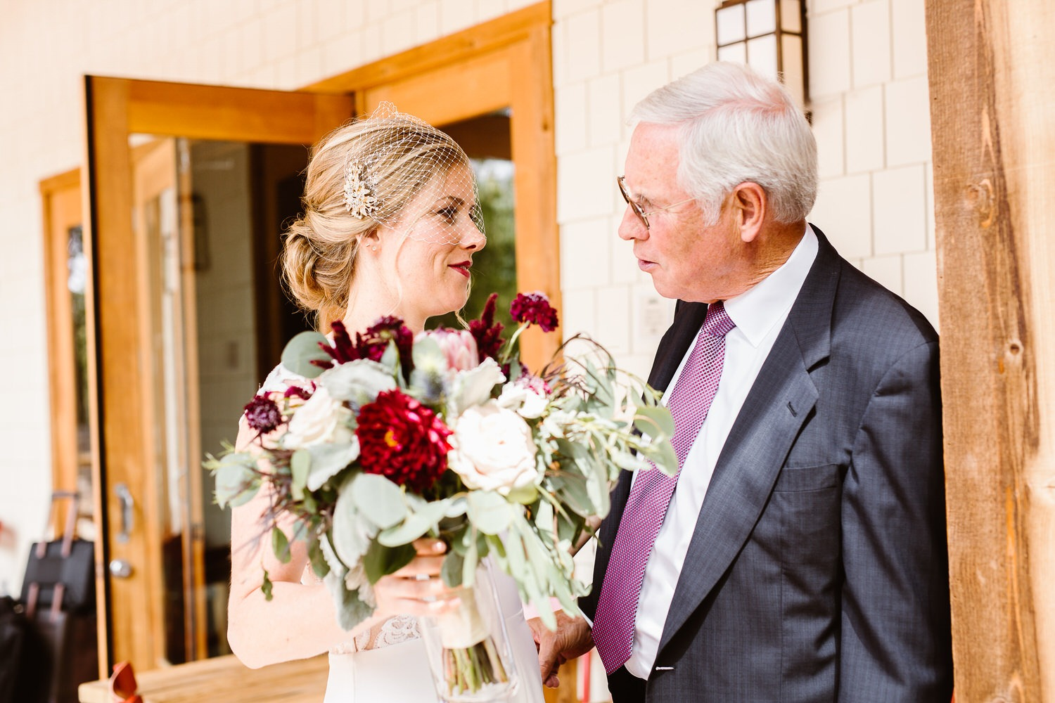 bride sees father for the first time