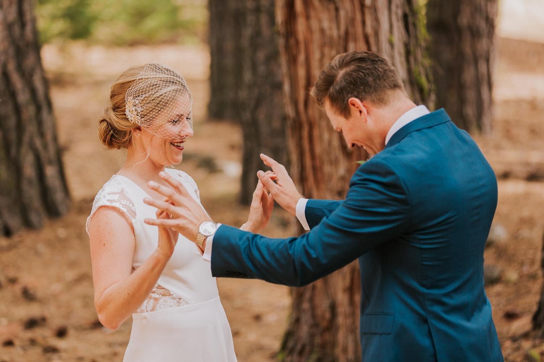 groom surprised by bride at Yosemite first look