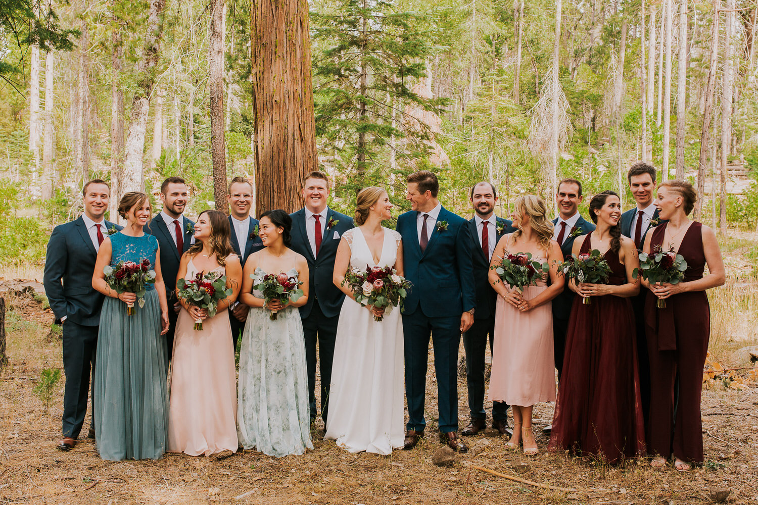 bridal party at Evergreen Lodge before wedding